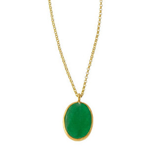 Brass Single Stone Necklace (vertical) - Jade