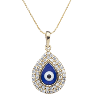 Evil Eye and White Sapphires Necklace--Teardrop