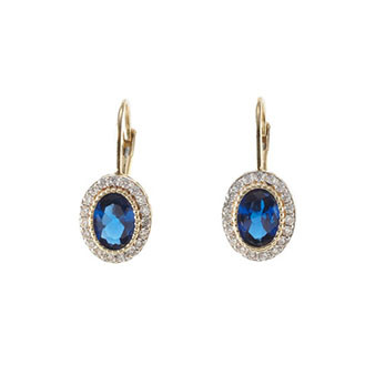 Round Blue and White Sapphire Earrings