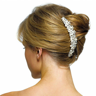 Crystal Flowers Hair Comb with Ivory Pearls