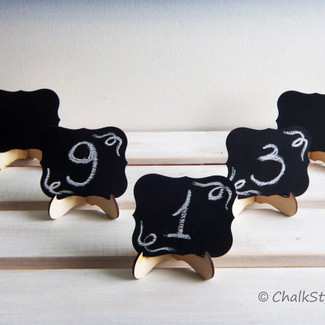10 Chalkboard Table Numbers with Stand