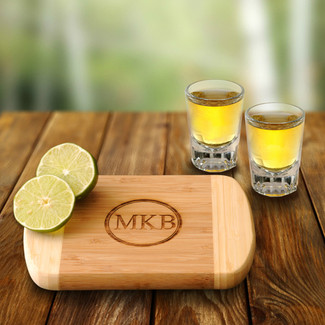 Bamboo Bar Board with 2 Shot Glasses