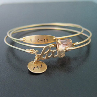 Personalized Wedding Bracelet Set