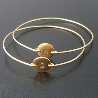 Bridesmaid Gold Initial Bracelet