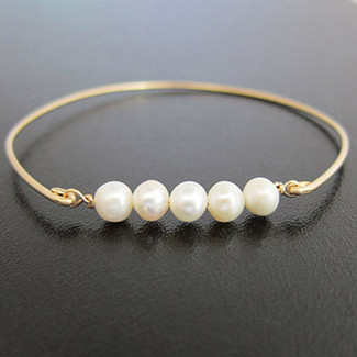 Bridal Pearl Bangle Bracelet