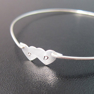 Bridal Two Hearts Couple Initial Bracelet in Silver
