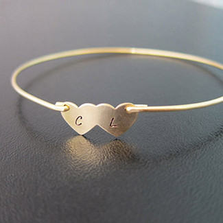 Bridal Two Hearts Couple Initial Bracelet in Gold