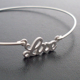 Bridesmaid Love Bangle Bracelet Silver