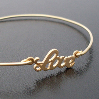 Bridesmaid Love Bangle Bracelet Gold