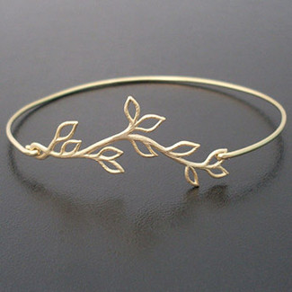 Bridesmaid Gold Olive Branch Bracelet