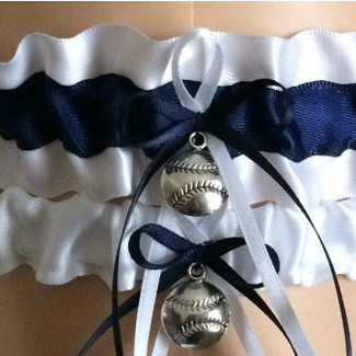 White and Navy Blue Wedding Garter Set