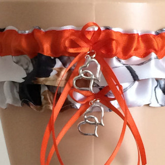 Snowfall Orange Camouflage Wedding Garter Set