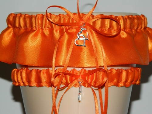 Beautiful Orange Wedding Garter Set