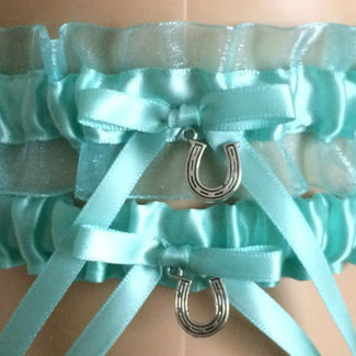 Aqua Blue Organza Wedding Garter Set