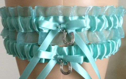 Tiffany Blue Organza Wedding Garter Set