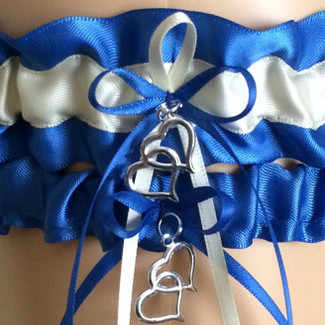 Royal Blue and White Wedding Garter Set