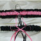 Black and Hot Pink Wedding Garter Set