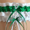 White and Emerald Green Wedding Garter Set