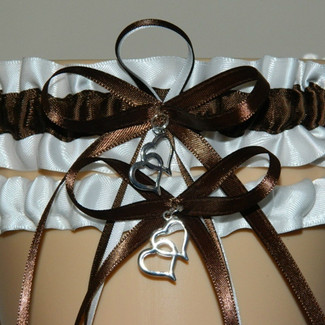 Brown and White Wedding Garter Set