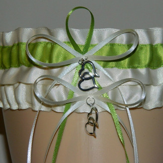 Ivory and Apple Green Wedding Garter Set