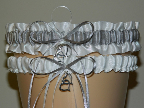 White and Silver Wedding Garter Set