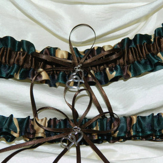 Brown Camouflage Wedding Garter Set