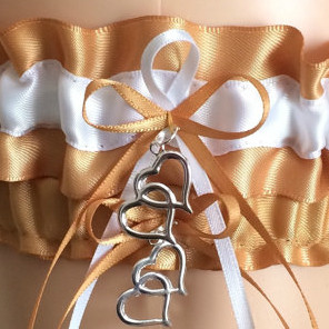 Gold and White Wedding Garter Set