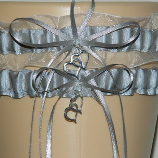Silver and White Organza Wedding Garter Set