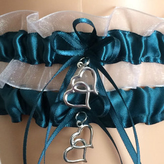 Teal and White Organza Wedding Garter Set