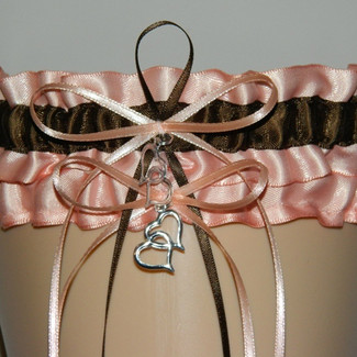 Peach and Brown Wedding Garter Set