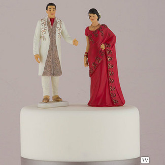 Traditional Indian Bride and Groom Wedding Cake Topper