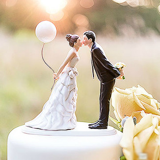 Leaning In For A Kiss Wedding Cake Topper
