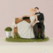 Couple sitting on a bench Wedding Cake Topper