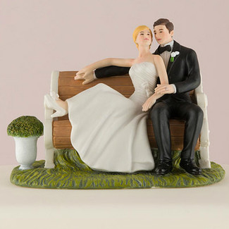 Sitting on a Park Bench Wedding Cake Topper