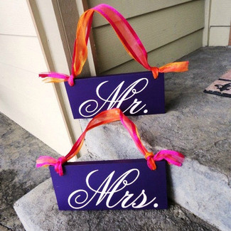 Mr & Mrs Wedding Chair Signs
