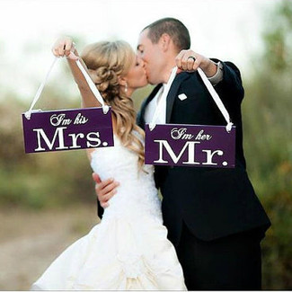 I'm Her Mr & I'm His Mrs Wedding Chair Signs