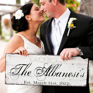 Bride and Groom Sign with Last Name and Wedding Date