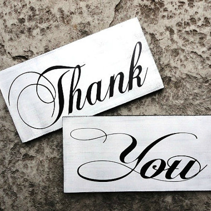 Vintage Thank You Wedding Signs