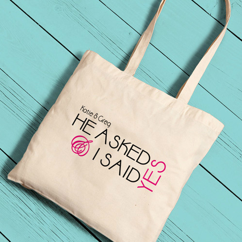 He Asked I Said Yes Bride Tote Bag