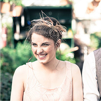 Blush & Champagne Birdcage Veil with Crystals and Feathers