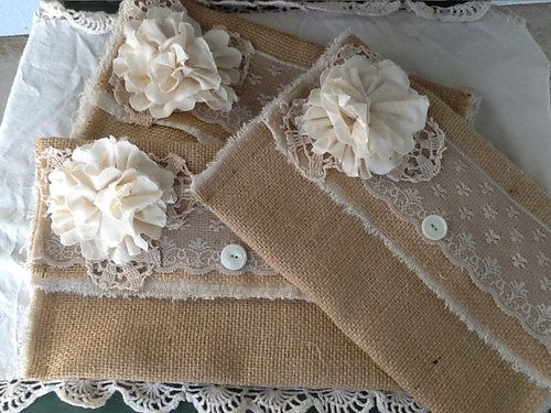 Burlap and Lace Wedding Clutch