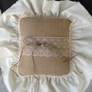 Burlap and vintage lace ring bearer pillow