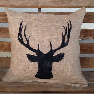 Burlap deer pillow