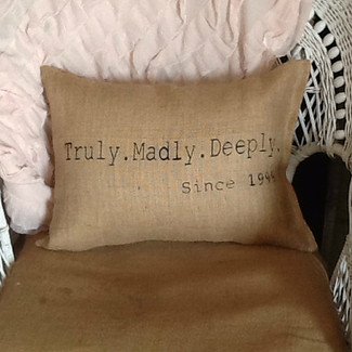 Truly. Madly. Deeply. Burlap Pillow