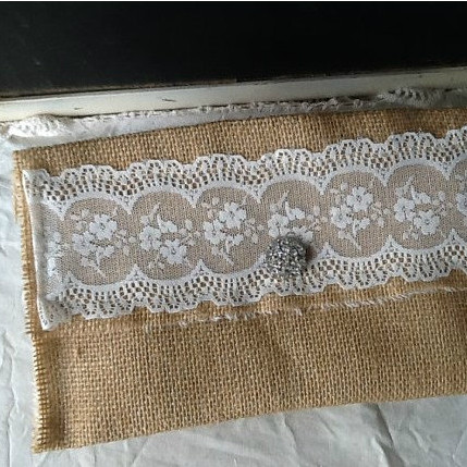 Vintage Burlap and Lace Wedding Clutch