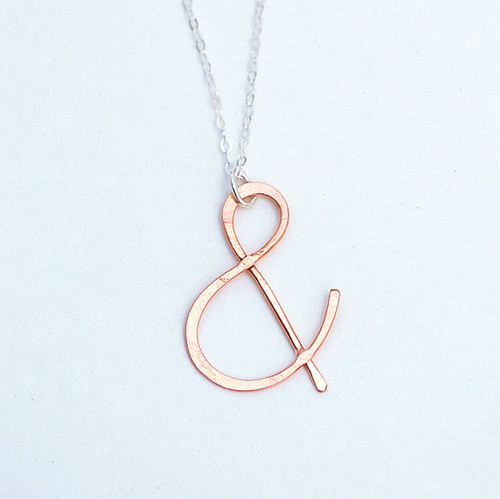 ampersand rose gold necklace