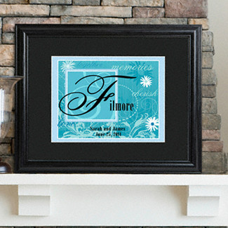 Personalized Couples Names Wedding Sign  - Island Blue
