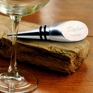 Silver Personalized Wine Bottle Stopper