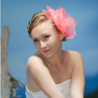 Large Flower Bridal Veil Fascinator with Birdcage Veiling