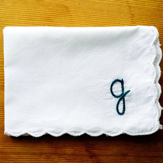Monogram Hanky - chain stitched